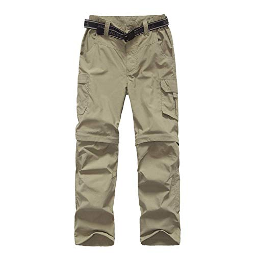 Boy's Convertible Hiking Pants Lightweight Quick Dry Zip Off Pants for Kids Youth Outdoor UPF 50+ Casual Cargo Trousers Khaki