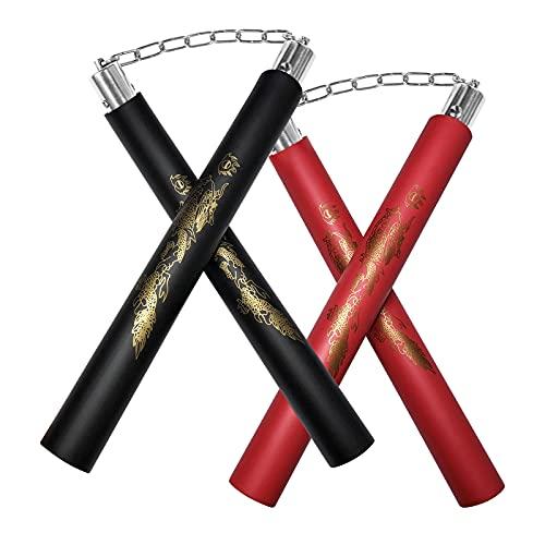 zalani Nunchucks,Safe Foam Rubber Training Nunchucks/Nunchakus with Steel Swivel Chain(Black+Red)