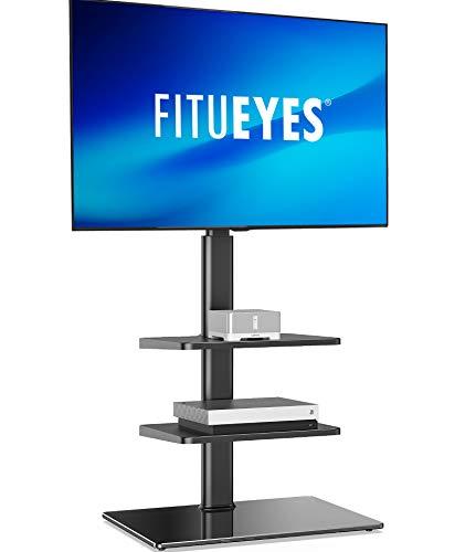 FITUEYES テレビスタンド 32〜55インチ対応 3段棚付き 壁寄せテレビスタンド 高さ調節可能 ラック回転可能 ブラック TT306001GB