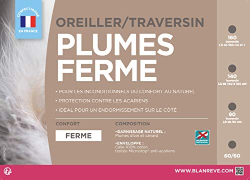 Blanrêve TRFERHP0100140 Traversin Naturel Ferme Anti Acariens 140