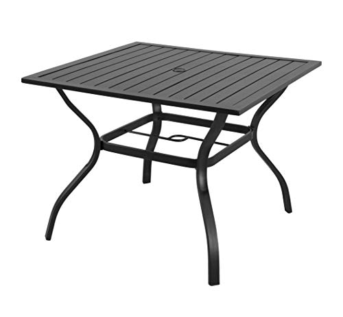 "EMERIT Outdoor Patio Bistro Metal Dining Table with Umbrella Hole 37""x37"",Black (Dining Table)"