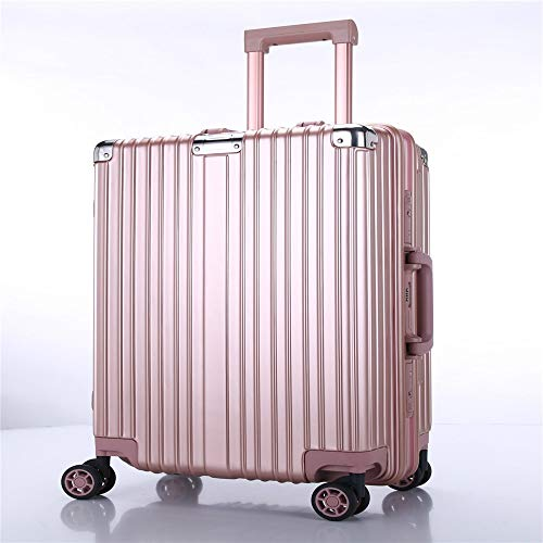 Travel Luggage Case Caster luggage trolley aluminum frame wrapped in retro suitcase suitcase business men and women boarding password Cabin Luggage (Color : Rose gold, Size : 20Inch)