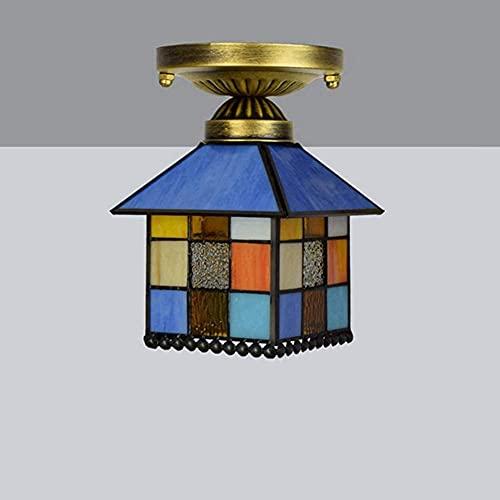 Wtbew-u Lámpara de Techo, luz de baño Luz de Techo, Vidrio Colgante Ligero Luz de Techo Tiffany Style Moderno Color Color Chandelier para el Dormitorio Sala de Estar Corredor Balcón, Color, 20x18cm