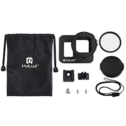 MeterMall Beste voor Smart voor Camera Beschermende kooi CNC Aluminium Behuizing Shell met Verzekering Frame en UV Lens voor GoPro HERO8 Zwart
