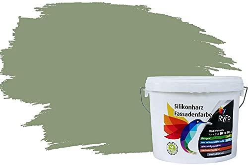 RyFo Colors Silikonharz Fassadenfarbe Lotuseffekt Trend Blassgrün 3l - bunte Fassadenfarbe, weitere Grün Farbtöne und Größen erhältlich, Deckkraft Klasse 1
