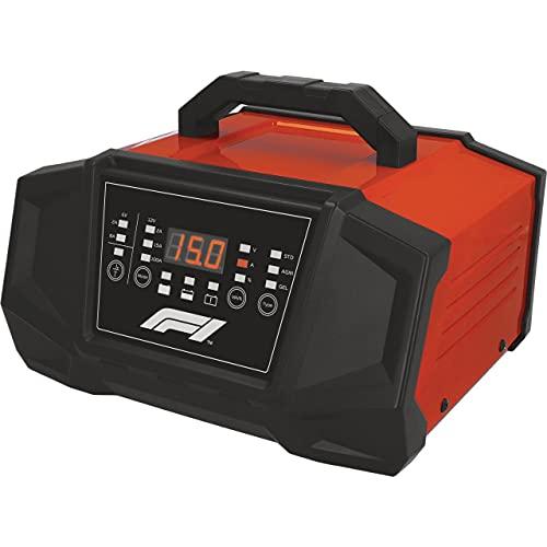 Formula 1 Cargador de batería con microprocesador de 15 amperios para 6/12 V, 7 Niveles, con función de Arranque de 100 A, Pantalla LED