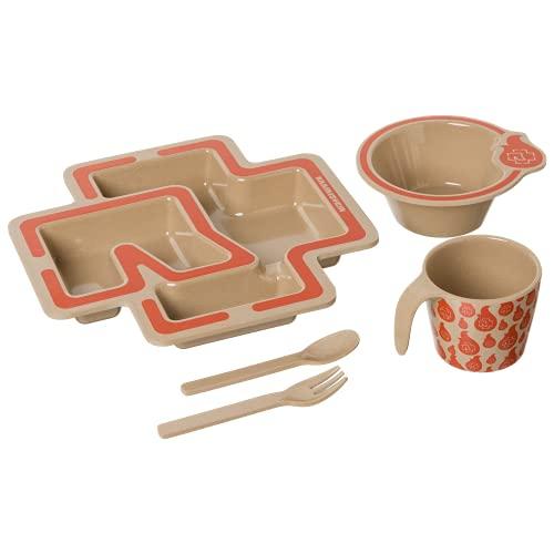 Rammstein Juego de vajilla infantil, plato de menú, vasos anchos, cubiertos de cáscara de arroz, merchandising oficial