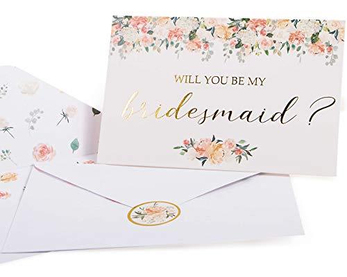 """Grußkarten für Brautjungfern. Set mit 8 Karten mit Aufschrift """"Will You Be My Bridesmaid"""" und 2 Maid of Honor"""". 4 x 6 Blumenkarten mit Goldfolie, ideal für Brautjungfer-Geschenke"""