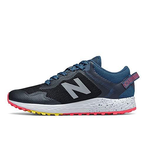 New Balance Kid's Fresh Foam Arishi Trail V1 Lace-Up Running Shoe, Black/Rogue Wave/Atomic Yellow, 2 Little