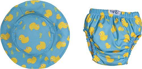 OZYOL Strand Baby Lernwindel Trainerhose mit Sonnen-Hut für den Sommer wasserdichte Windeln Windelhose zum Toilettentraining Töpfchentraining (Blau, 80)