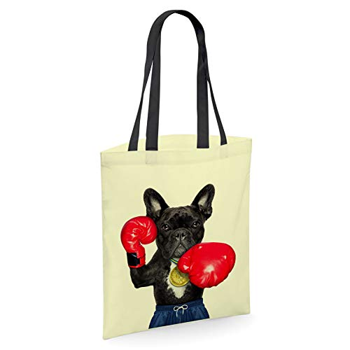 French Bulldog Frenchie Boxing Gifts for Dog Lovers Owners - Reusable Shopper Shoulder Tote Bags with Dogs on - Lemon