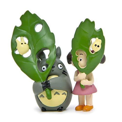 EASTVAPS Juguete 2 Piezas Miyazaki Mi Vecino Totoro con Hojas Verdes Mei Landscaping Doll Figure