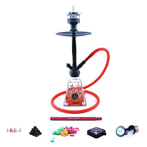 Shisha Set mit Shisha Amy I Need You II, Kohleanzünder, Naturkohle, Kaminkopf, Dampfsteine und eine kleine Überraschung (Rot/Schwarz-Matt)