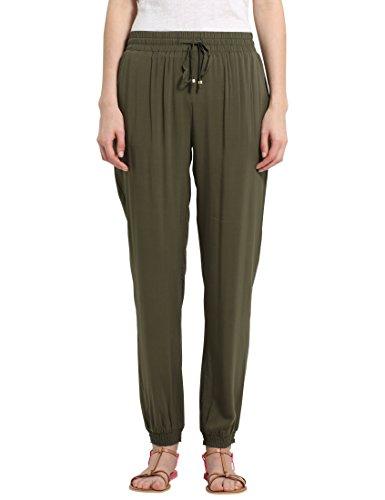 Berydale Damen Stoffhose in fließend weicher Qualität, Olive, 40