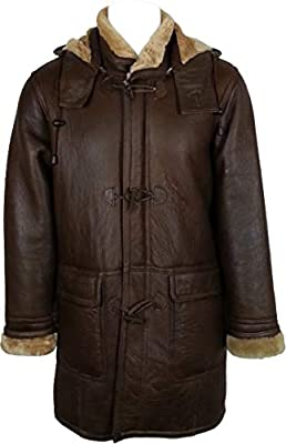 UNICORN Mens Hooded Sheepskin Duffle Coat Brown With Ginger Fur Real Leather Jacket #CB (XXL)