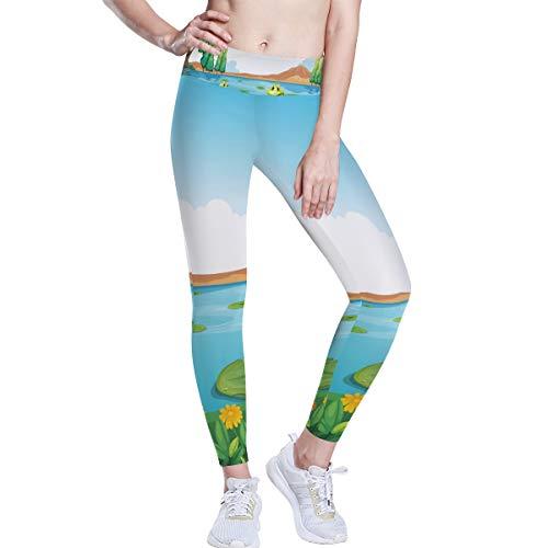 FANTAZIO Ranas en estanque de cintura alta pantalones de yoga para...