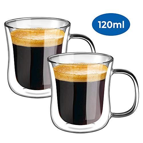 ecooe Doppelwandige Espressotassen Espresso Glaser Set 2-teiliges 120ml(Volle Kapazitat)