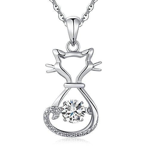 jiamiaoi - Collana da donna in argento Sterling 925 con ciondolo a forma di gatto in 3D, con superficie opaca, per amanti dei gatti e Argento, colore: Collana con gatto2, cod. catN8