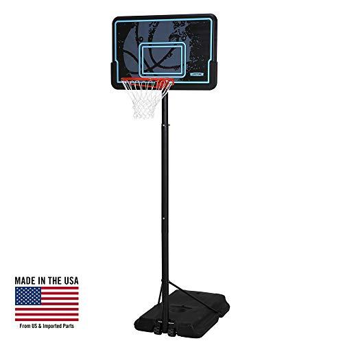 Lifetime Height Adjustable Portable Basketball System, 44 Inch Backboard (Black/Blue)