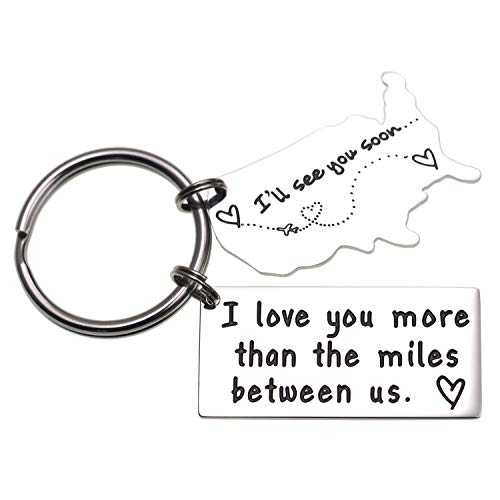Love Keychains for Couples I Love You More Than The Miles Between Us I Will See You Soon Long Distance Relationship Gift Boyfriend...