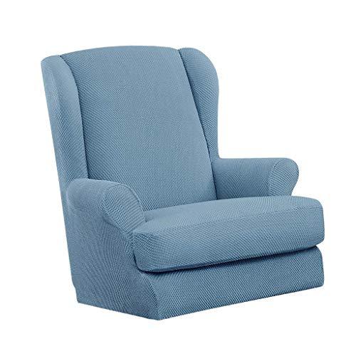 FLAMEER Einfarbige Sofahusse Sofabezug Sofabezüge Universal Stretchhussen Ohrensessel Bezug + Hockerbezug - Hellblau