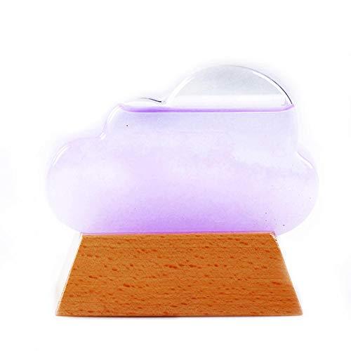 Botella de pronóstico del tiempo Regalo innovador, botella de predicción meteorológica de cristal de tormenta de nube creativa con base de madera, decoración de escritorio para el hogar