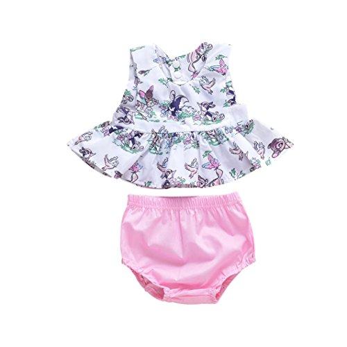 Bekleidung Longra Bekleidung Longra Babykleidung Sommer, Baby Mädchen Outfits Kleidung T-Shirt Tops + Hosen + Stirnband Set(0-24Monate) (66-70CM 6Monate, Pink)