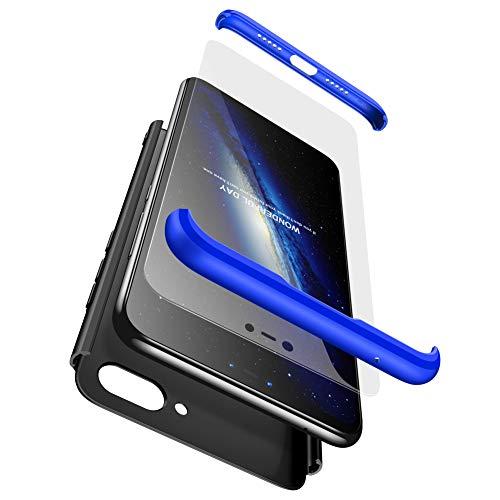 GoodcAcy Hülle Kompatibel mit Xiaomi Mi A1 with Panzerglas Schutzfolie,360 Grad R&umschutz 3 in 1 PC Superleichte Handyhülle Schutzhülle Hüllen Tasche Bumper Cover für Xiaomi Mi A1 Blau+Schwarz