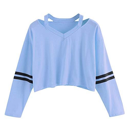 Amlaiworld Sweatshirts Damen Baumwolle Kurz Bauchfrei Sweatshirt Damen Warm Herbst Freizeit Frühling Pullis Locker Oberteile Mode Tops Gestreift Bluse für M?dchen