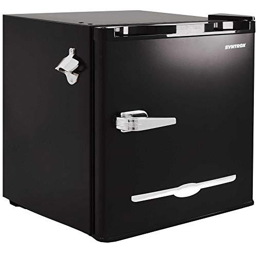 Syntrox Germany geräuscharmer 46 db Getränkekühlschrank Retro Kühlschrank mit 46 Litern Volumen, Eisfach, Flaschenöffner
