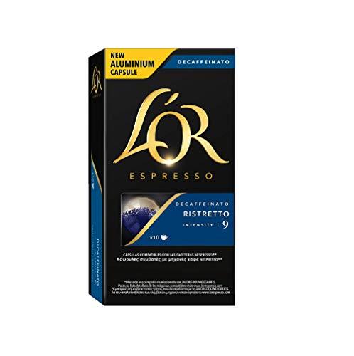 L'Or Espresso Café Ristretto Decaffeinato Intensidad 9 - 40 cápsulas de aluminio compatibles con máquinas Nespresso (R)* (4 Paquetes de 10 cápsulas)