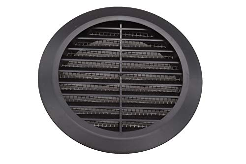 Vent Systems 6'' Inch Black Soffit Vent Cover - Round Air Vent Louver - Grill Cover - Built-in Insect Screen - HVAC Vents for Bathroom, Home Office, Kitchen