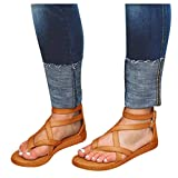 Cenglings Rome Shoes,Summer Women Flat Clip Toe Strappy Flat Sandals Breathable Hollow Out Sandals Ankle Strap Buckle Shoes(Brown,40)