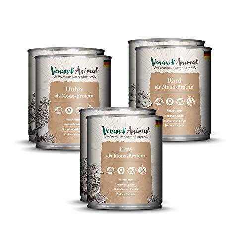 Venandi Animal Premium Nassfutter für Katzen, Probierpaket I, Huhn, Ente, Rind, 6 x 800 g, getreidefrei und naturbelassen, 4.8 kg
