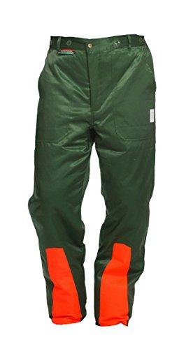 Schnittschutzhose Klasse 1, Forsthose WOODSafe®, kwf-geprüft, Bundhose grün/orange mit Hosenträgern, Herren - Waldarbeiterhose mit Schnittschutz Form A, Größe 50