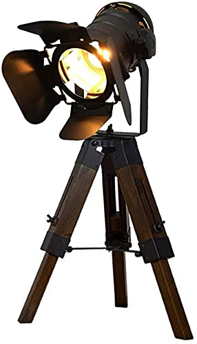 HHORB Lampada da Tavolo Treppiede Retro Vintage Industriale Design Proiettore Cinem Lampada da Scrivania Regolabile Legno Studio Salotto Lampada Terra E27, Nera [Classe di Efficienza Energetica A+++]