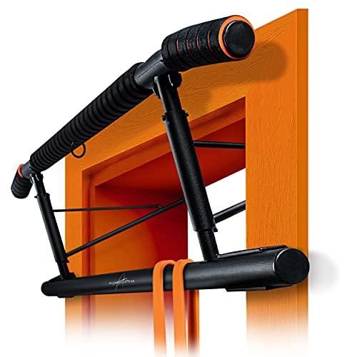 AthleticPro [Das Original Klimmzugstange Türrahmen - Stark belastbare Pull up bar [bis 200 KG]- Türreck ohne Aufbau - 20 cm höher im Rahmen - Auch für Dips&Push Ups