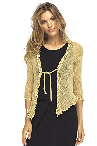 Back From Bali Womens Sheer Shrug Cardigan Sweater Ruffle Lightweight Knit Natural Gold One Size