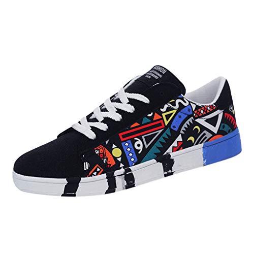 Aoogo Herren Mode Casual Lace-Up Canvas Sportschuhe Sneakers Graffiti-Schuhe Combat Hallenschuhe Worker Laufschuhe Wanderschuhe Sneakers Sport