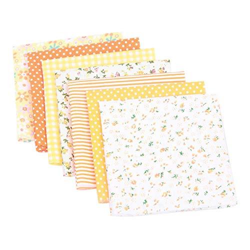 Beeria 7 Stück Baumwollstoffreste für Nähen Stoffpaket Blumenmuster Nähen Patchwork DIY Kunst Scrapbooking, baumwolle, gelb, 25*25cm