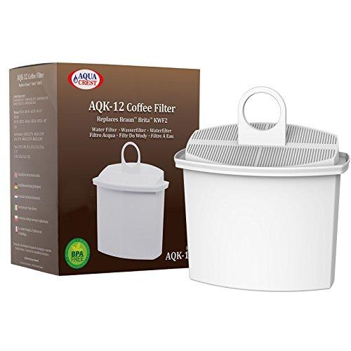 AquaCrest AQK-12 Kompatibler Kaffeemaschinen Wasserfilter Ersatz für Braun KWF2; Aroma Select KF130, KF140, KF145, KF147, KF150, KF155, KF160, Aroma Passion KF550, KF560, KFT150, KK148 (1)