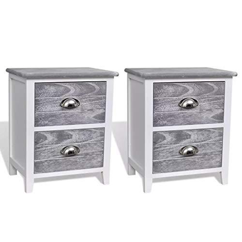 Festnight 2er-Set Nachttisch Nachtkommode Schlafzimmerkommode Holztisch Telefontisch mit 2 Schubladen Grau/Weiß
