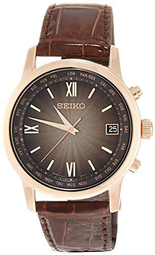 [セイコーウォッチ] 腕時計 ブライツ ソーラー電波 ブラウングラデーション文字盤 ワールドタイム表記 チタンモデル カーブサファイアガラス ブラウンクロコダイル革バンド SAGZ098 メンズ ブラウン
