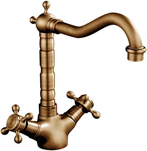 Homelava Rubinetto retrò per lavello cucina classico doppio manico girevole 360 ° rubinetto in ottone bronzo con tubi antichi georgiani