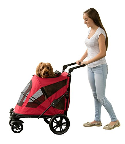 Pet Gear NO-ZIP Stroller, Push Button Zipperless Dual Entry, for Single or Multiple Dogs/Cats, Pet Can Easily Walk In/Out, No Need to Lift Pet, Candy Red, Excursion