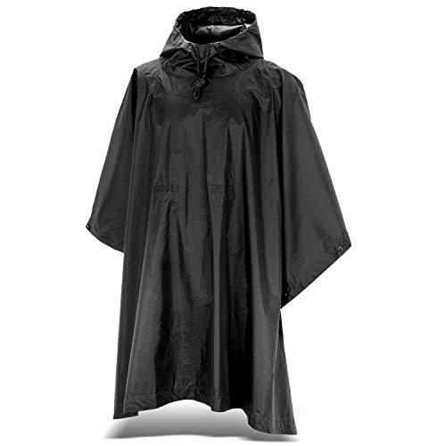 Black Snake Outdoor Regenponcho | Ripstop Regencape mit Kapuze | Regen Poncho inkl. Tasche | Regenjacke für Damen und Herren - Schwarz