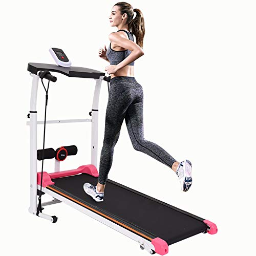 【Ship from US】 Home Treadmills Two-Wheeled Mechanical Treadmill, Foldable Walking Running Machine with Table Holder/LCD Monitor, Built-in Mp3 Speaker, Low Noise for Home/Office/Gym