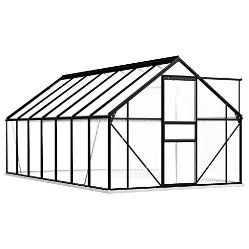 Festnight Gewächshaus mit Fundamentrahmen Garten Treibhaus Gartenhaus Tomatenhaus Frühbett UV-beständig Anthrazit Aluminimum 26,14 m³