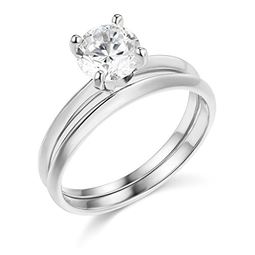 TWJC 14k White Gold Solid Wedding Engagement Ring and Matching Band 2 Piece Set - Size 6