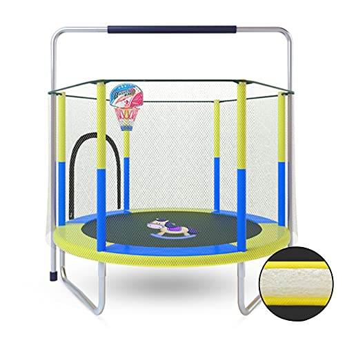 LKZL 60' Hexagon Fitness Trampoline, Indoor Outdoor Metal spring Bouncer Jumper with Mini Basketball hoop, for Adult Kids Home Gym Exercise (Color : Pink)